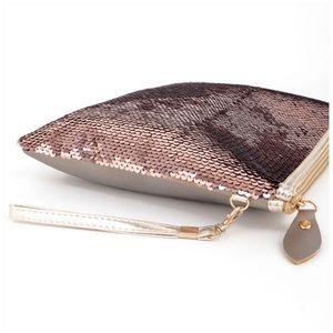 Posh Mishmosh Bags - 2 Way Sequin Color Changing Clutch Rosegold Silver